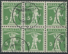 1641 - Heftchenblatt - Sechserblock 5 Rp. Tellknabe Type II - Michel Katalogwert EURO 1800.00