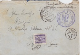 BUSTA - POSTA MILITARE N 80 - 1° REGGIMENTO GENIO - 1^ COMPAGNIA MISTA T. C R.T. AFFRANCATURA CON SEGNATASSE Cent. 50 - Guerra 1939-45