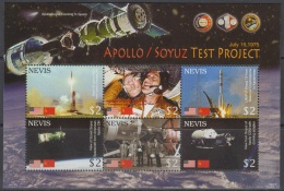 Sheet II, Nevis Sc1484 Space Achievement, Apollo-Soyuz, Astronaut, Espace, Astronaute - Space