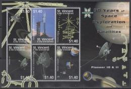 Sheet II, St. Vincent Sc3641 Space Exploration, Satellite, Pioneer 10, Pioneer 11, Rocket, Espace