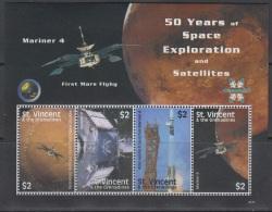 Sheet II, St. Vincent Sc3645 Space Exploration, Satellite, Mariner 4, Rocket, Espace
