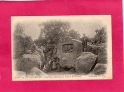 77 SEINE ET MARNE, FONTAINEBLEAU, Barbizon, Médaillon De Millet Et De Rouseau, Animée, 1902, (ND Phot) - Fontainebleau