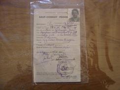 1939 Sauf Conduit Provisoire DANJEAN Louise Les Lilas DE PARIS A La TERRASSE Isere - Documenti