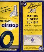 Carte Géographique MICHELIN - N° 151 MAROC-ALGERIE-TUNISIE - 1953 Contour Bleu - 95 F - Wegenkaarten