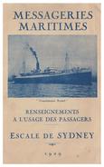 FRANCE -- PAQUEBOTS -- MESSAGERIES MARITIMES --LIVRET D'ESCALES --ESCALE DE SYDNEY -- 1929 -- - Schiffe