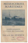 FRANCE -- PAQUEBOTS -- MESSAGERIES MARITIMES --LIVRET D'ESCALES --ESCALE DE SYDNEY -- 1930 -- - Schiffe