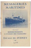 FRANCE -- PAQUEBOTS --MESSAGERIES MARITIMES--LIVRET D'ESCALES--ESCALE DE SYDNEY-- 1933 --PLIURE TRANSVERSALE PRONONCEE- - Schiffe
