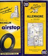 Carte Géographique MICHELIN - N° 205 ALLEMAGNE 1955 - Wegenkaarten