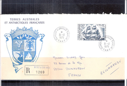 """Lettre Recommandée Des Terres Australes Et Antarctiques Françaises Vers Dunkerque - Voilier """"Le Rolland"""" (à Voir) - Terres Australes Et Antarctiques Françaises (TAAF)"""