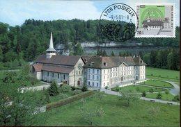 21028 Switzerland, Maximum 2001 Pro Patria, Abbaye Cistercienne Hauterive Posieux, Architecture - Cartes-Maximum (CM)