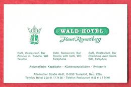 Carte De Visite Et D' Accès à L' Hôtel-restaurant ' Wald Hôtel ' à Troisdorf ( Allemagne ) - Cartoncini Da Visita