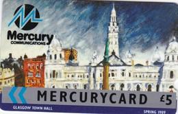 Mercury, MER019, Sights Of The UK, Glasgow Town Hall (Spring 1989), Unused, 2 Scans    8MERB