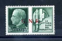 1944 RSI GNR PROP. DI GUERRA MNH ** 25 Verde - 4. 1944-45 Repubblica Sociale
