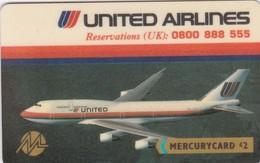 Mercury, MER332, United Airlines, Airplane, 2 Scans.  20MERC