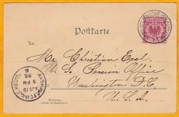 1895  - Carte Postale GRUSS  De Willelmshohe Vers Washington, USA - Affrt  10 Pf  - Cad Arrivée - Pensionhaus, Cascaden - Deutschland