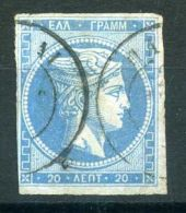 GRECE (  POSTE ) : Y&T N°  37  TIMBRE  BIEN  OBLITERE , A  VOIR . - 1861-86 Grands Hermes