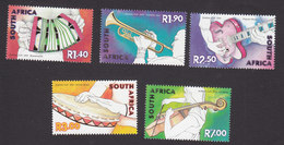 South Africa, Scott #1253-1257, Mint Hinged, Musical Instruments, Issued 2001 - South Africa (1961-...)