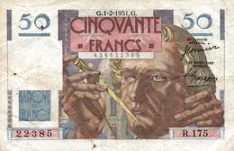 BANQUE DE FRANCE  50 FRANCS 1951 - 50 F 1946-1951 ''Le Verrier''