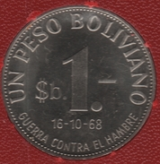 BOLIVIA 1 PESO BOLIVIANO FAO 16-10-68 GUERRA CONTRA EL HAMBRE LAMA KM# 191 - Bolivia