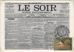 BELGIQUE 2271 FDC Carte Du Centenaire Du Journal Le Soir TINTIN HERGE KUIFJE COMICS BD 2 - Comics