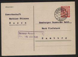 Alliierte Besetzung - MiNr. 919 Als EF Auf Postkarte - Gelaufen ESSEN-KARNAP 12.7.1946 - Gemeinschaftsausgaben