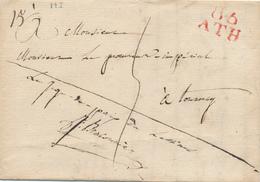 159/25 - Lettre Précurseur 86 ATH 1812 Vers TOURNAY - Le Juge De Paix De LESSINES , Signé Braconnier - 1794-1814 (French Period)