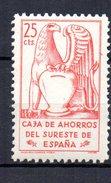 Sello Caja De Ahorros Del Sureste De España. 25cts - Fiscales