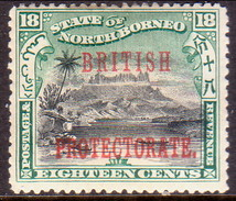 NORTH BORNEO 1901 SG #137 18c MH (gum Remnants And Fault At Top) Perf. 14 CV £19 Opt BRITISH PROTECTORATE - North Borneo (...-1963)
