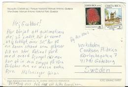 Costa Rica Via Sweden,POSTCARD WITH NEEDLE HOLE !!! Nice Stamp - Costa Rica