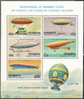 Penrhyn,  Scott 2017 # 259aa,  Issued 1983,  S/S Of 5,  MNH,  Cat $ 9.00,  Zeps - Penrhyn