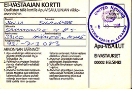 Finland Old Cover Postcard Document (Finland Forces In Lebanon )   (Z-2929) - Finland