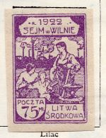 Lithuania 1922 Early Issue Fine Mint Hinged 75m. 150526