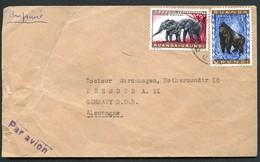 RUANDA URUNDI Cover GORILLA ELEPHANTS Used USUMBURA To East Germany 1960 - Ruanda-Urundi