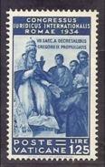 1935 Vaticano Vatican GIURIDICO  JURIDICAL CONGRESS 1.25 Lire Azzurro MLH* - Unused Stamps