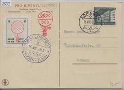 1955 Ballonpost Schlieren-Zürich HB-BIN Zofingen 16.VII. Auf Pro Juventute Karte 1954 B71/613 - Primeros Vuelos
