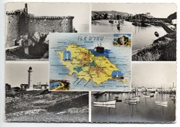 Ile D'YEU-carte Géographique+Multivues(phare,port La Meule,Port Joinville,Vieux Chateau), - Ile D'Yeu