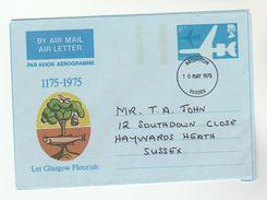 1975 Brighton GB AEROGRAMME Illus FISH, TREE Let Glasgow Flourish Postal Stationery Cover Stamps - Stamped Stationery, Airletters & Aerogrammes