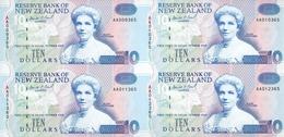 New Zealand, Uncut Block Of 4 X 10 $ Banknotes, Pick 178b, With Folder, 1993 ! - Neuseeland