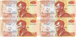 New Zealand, Uncut Block Of 4 X 5 $ Banknotes, Pick 177c, With Folder, 1992 ! - Neuseeland