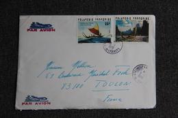 Enveloppe Envoyée Par Avion De TAHITI à TOULON Avec Une Magnifique Carte De Voeux - Tahiti
