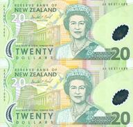 New Zealand, Uncut Block Of 2 X 20 $ Banknotes, Pick CS187b, With Folder, 1999 ! - Neuseeland