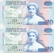 New Zealand, Uncut Block Of 2 X 10 $ Banknotes, Pick 178, With Folder, 1993 ! - Neuseeland
