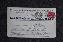 Carte Postale Publicitaire , TOULON,Fred SETTIMO, Fournitures Complètes Pour Café Et Hotels. - Toulon