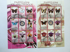 Rotary: Papillons Et Orchidées, Butterflies, Vlinders, Orchidee, Orchid, Rép. De Djibouti, Cinderella (o), Used - Rotary, Lions Club
