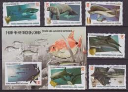 2015.157 CUBA 2015 MNH + HF FAUNA PREHISTORICA PECES FISH SHARK DOLPHIN STINGRAY. - Ongebruikt