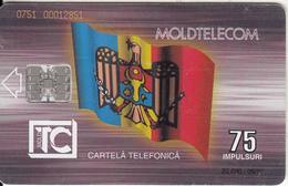 MOLDOVA - Flag, Monument, Moldtelecom Telecard 75 Units, Tirage 20000, 09/95, Used