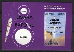 India Nagaland Label (local Issue), Space / Ruimtevaart, Apollo 11, Lunar Landing, Surch: Osaka Expo, Cinderella **, MNH