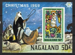 India Nagaland 1969 Label (local Issue), Christmas / Kerstmis / Weihnachten / Noël, Imperfed, Cinderella **, MNH - Kerstmis