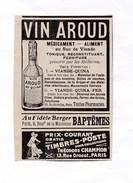 Pub.1915 Vin Aroud  Au Quina     Au Fidèle Berger , Théodore Champion Timbres -poste  TBE - Publicités