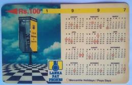 Sri Lanka Phoneccard Rs 100 1997 Calendar 31SRLB